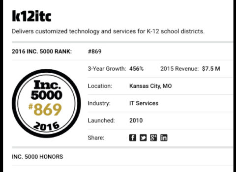 Named to Inc. Magazine's 5000 List
